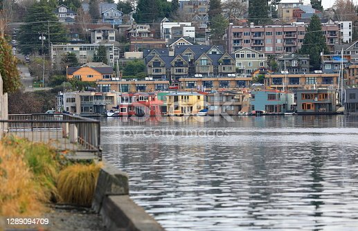 Houseboats along the Lake Union shore in Seattle, WA