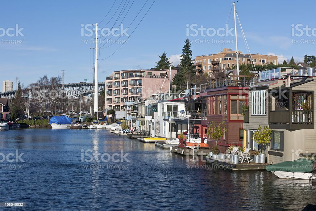 Seattle Houseboats stock photo