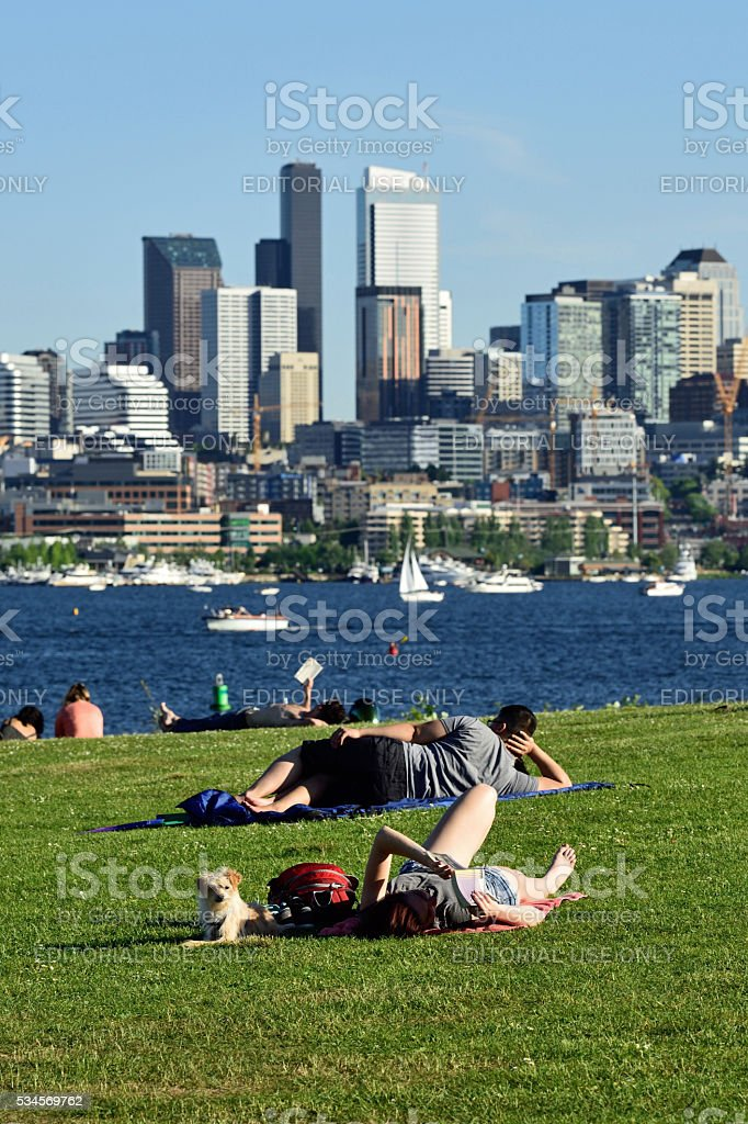 Seattle in June stock photo