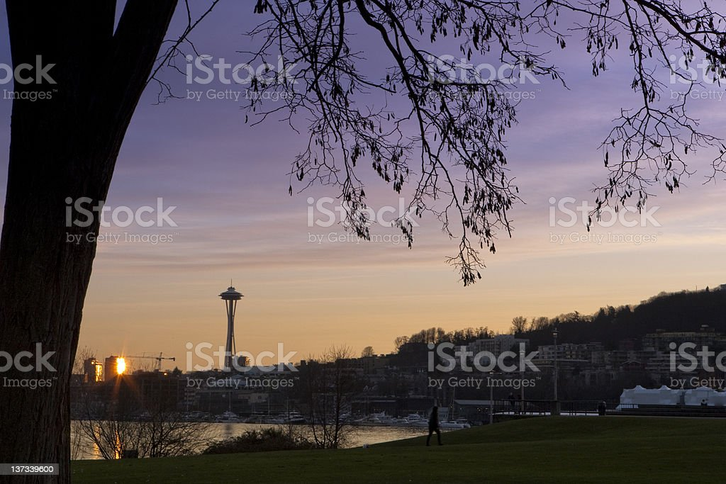 Seattle in the Sunset stock photo