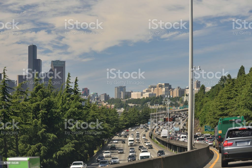 Seattle Interstate Traffic Jam stock photo