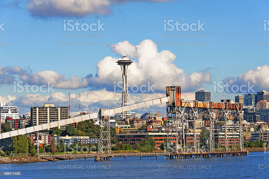 Seattle Loading Ramp and Skyline royalty-free stock photo