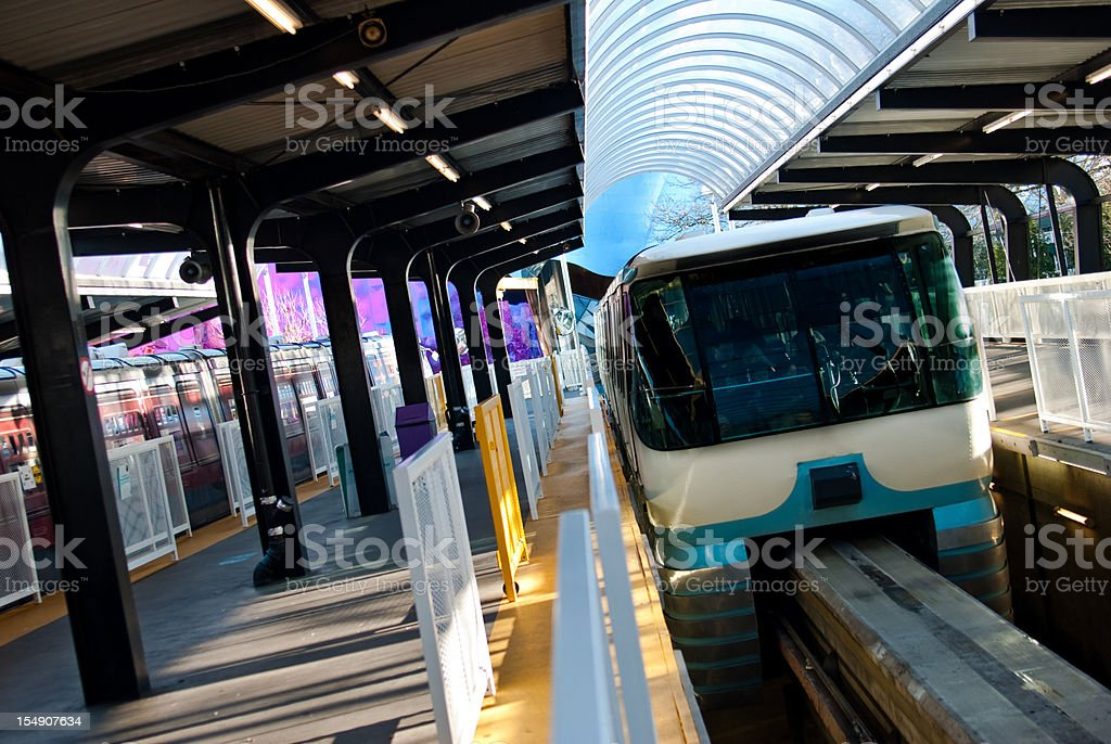 Seattle Monorail pulling into station stock photo