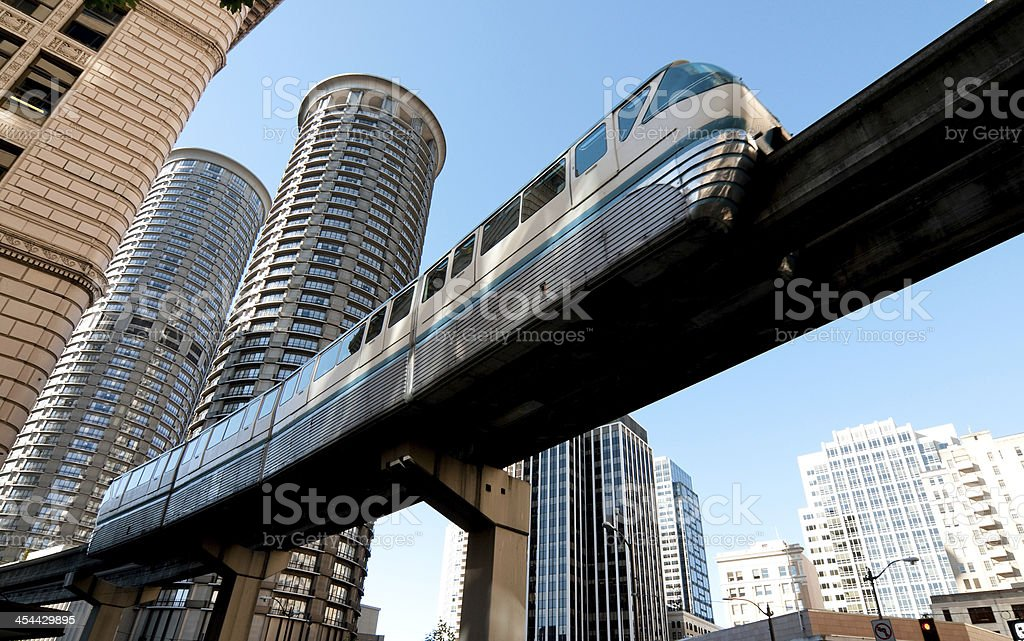 Seattle Monrail The Seattle Monorail passing through the downtown core. Business Travel Stock Photo