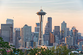 Seattle, Washington - August 26th, 2016: Its the Space Needle and Seattle skylines in the morning seen from the Kerry park in Downtown Seattle, Washington.