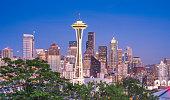 Urban Skyline, Night, City, Street Light, Seattle