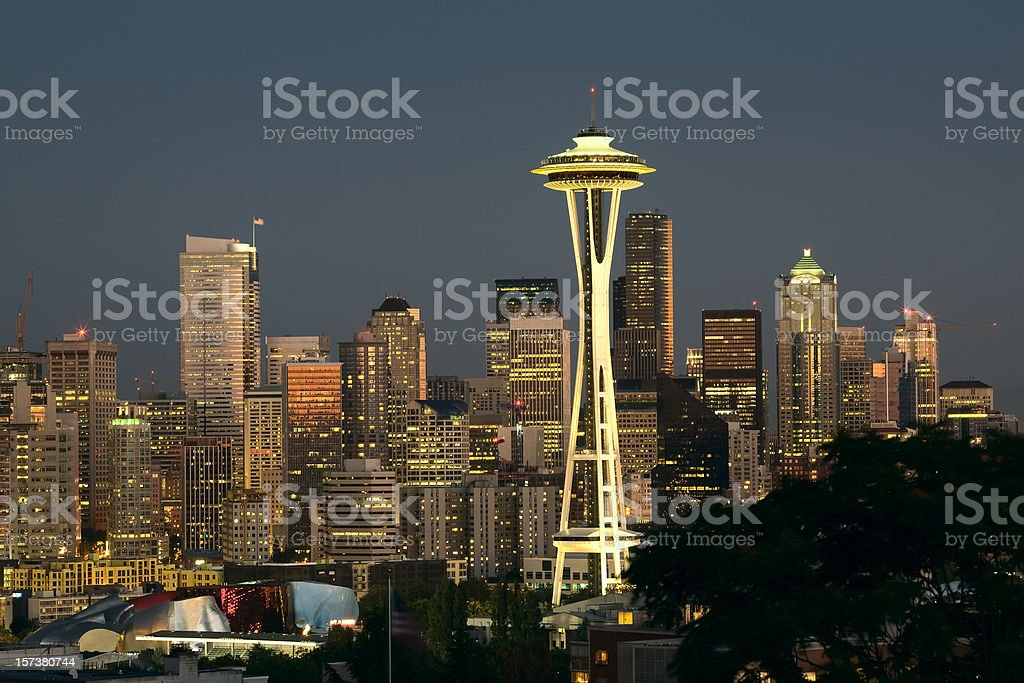 Seattle Night Skyline royalty-free stock photo