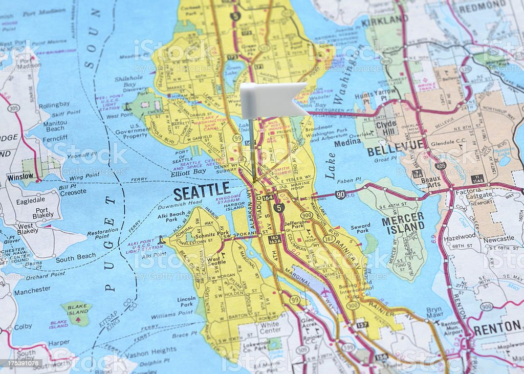 Seattle Cartina.Seattle On The Map Stock Photo Download Image Now Istock