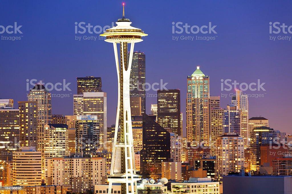 Seattle panorama at dusk stock photo