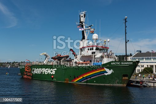 Seattle, USA - June 16, 2018: The Greenpeace Arctic Sunrise ship docked in South lake union late in the day.