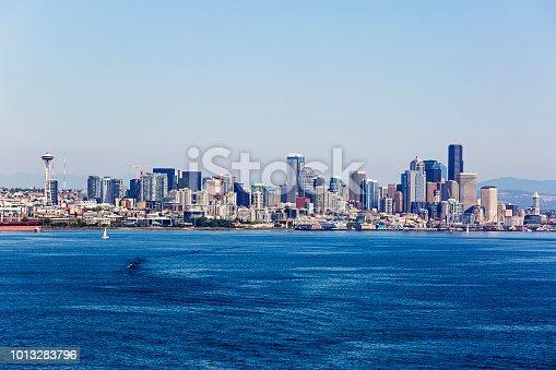 View of Seattle, Washington skyline and Elliott Bay.