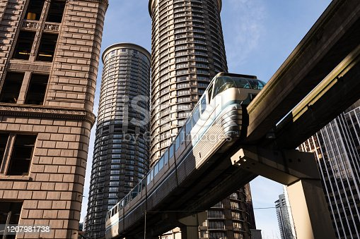 The Seattle Monorail passing through the downtown core.