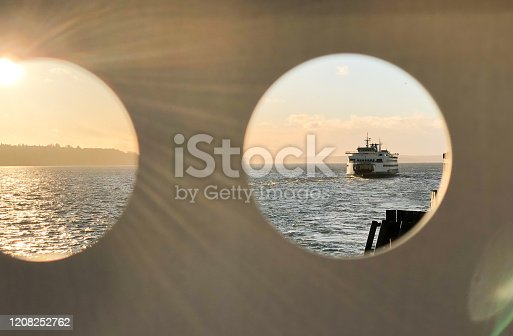 Seattle ferry with lens flare.