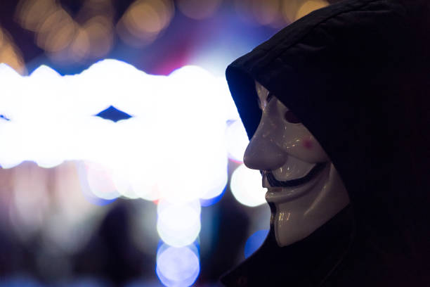 seattle - guy fawkes mask stock photos and pictures