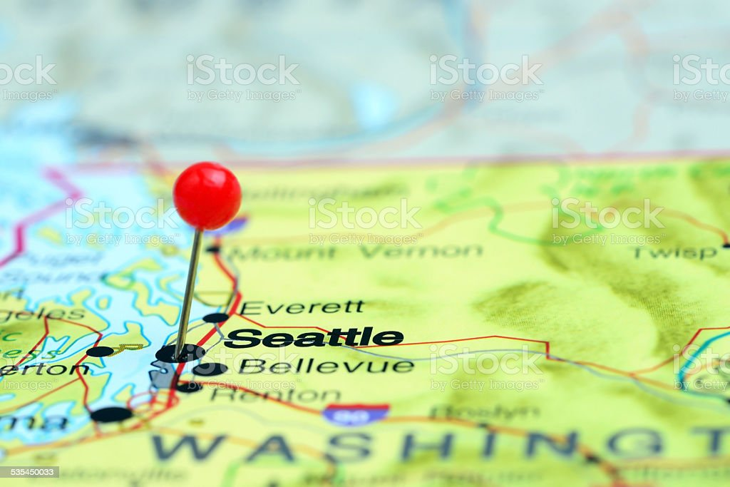 Seattle Pinned On A Map Of Usa Stock Photo & More Pictures of 2015 on