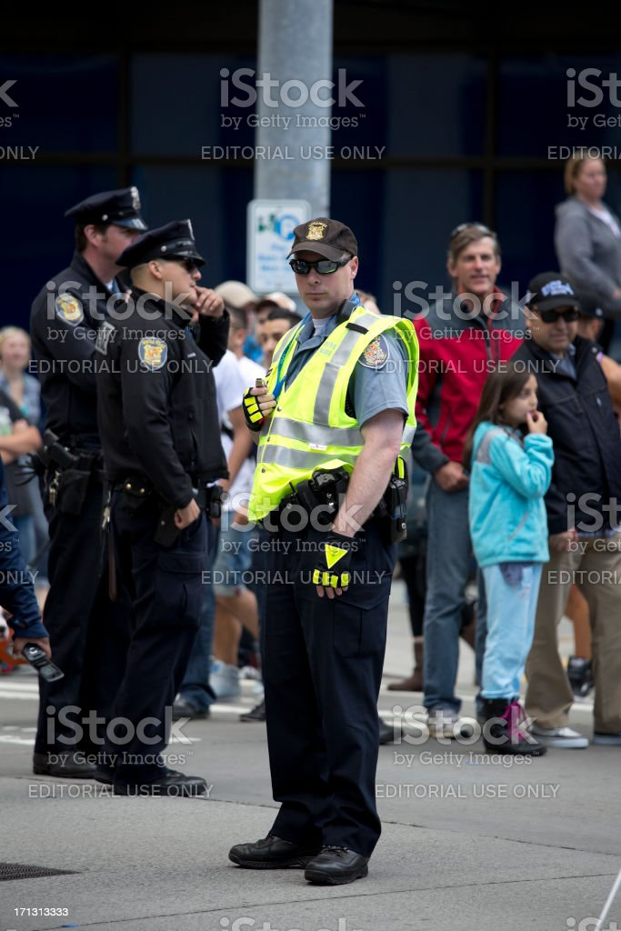 Seattle Police at the Gay Pride Street Parade royalty-free stock photo
