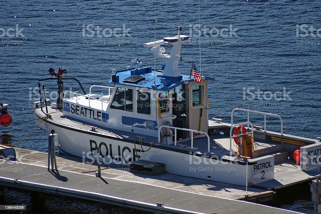 Seattle Police Boat stock photo