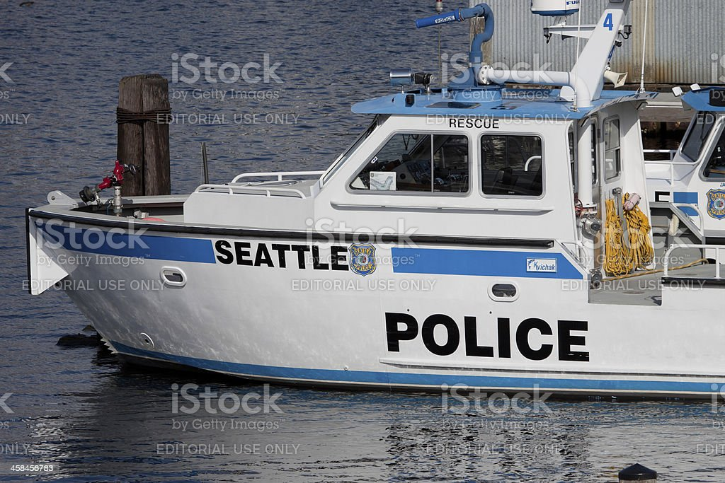 Seattle Police Boat royalty-free stock photo