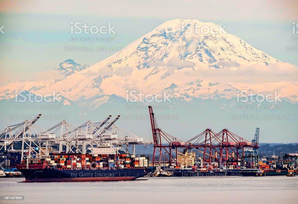 Seattle Port stock photo