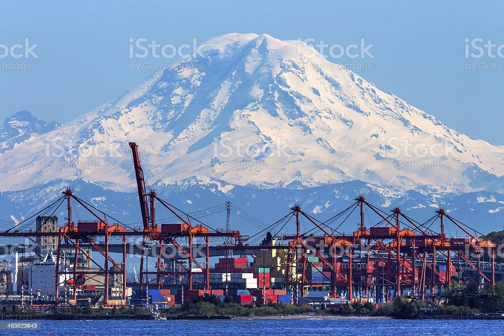 Seattle Port Red Cranes Boats Mt Rainier Washington royalty-free stock photo