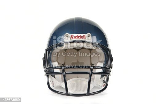Maidstone, United Kingdom - February, 1st 2011:A Seattle Seahawks American football helmet manufactured by Riddell Inc.