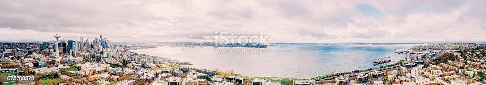 istock Seattle Skyline Aerial Panorama 1075708878