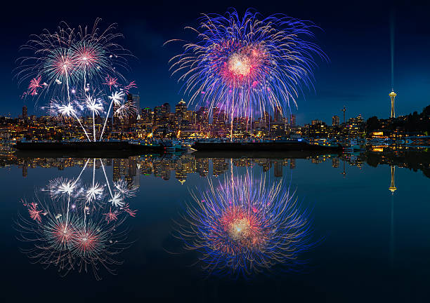 Seattle skyline and fireworks stock photo