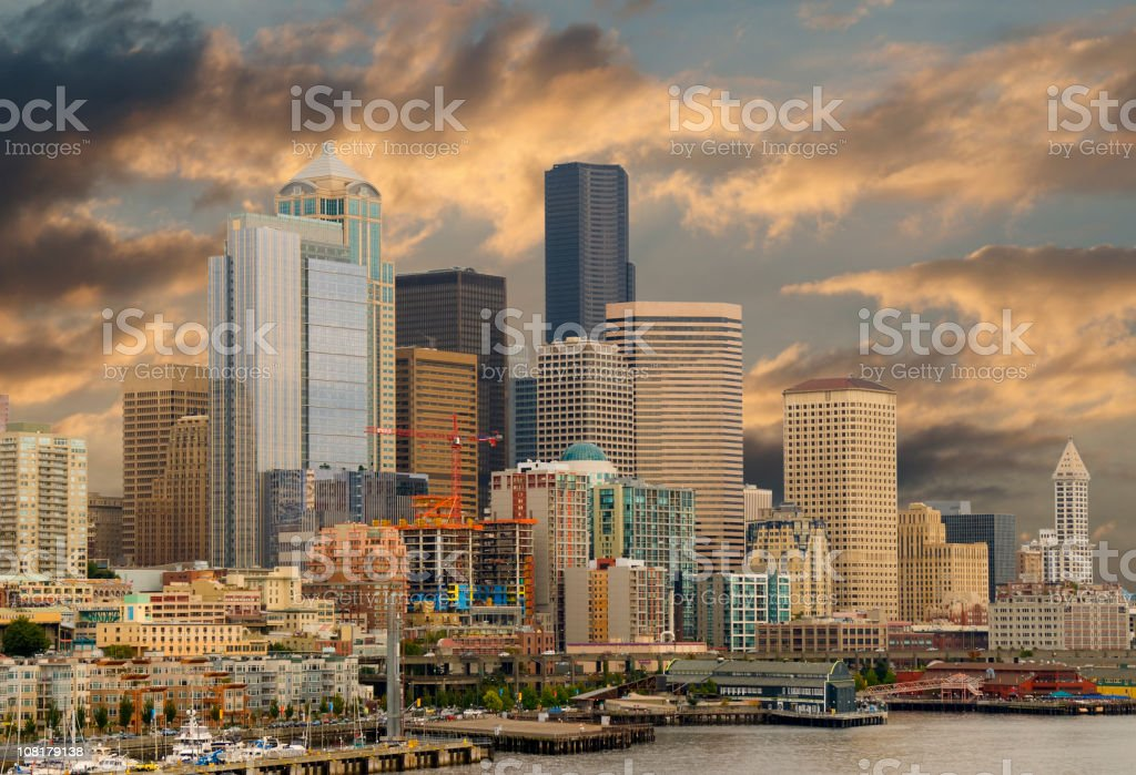 Seattle Skyline and Harbor at Sunset stock photo