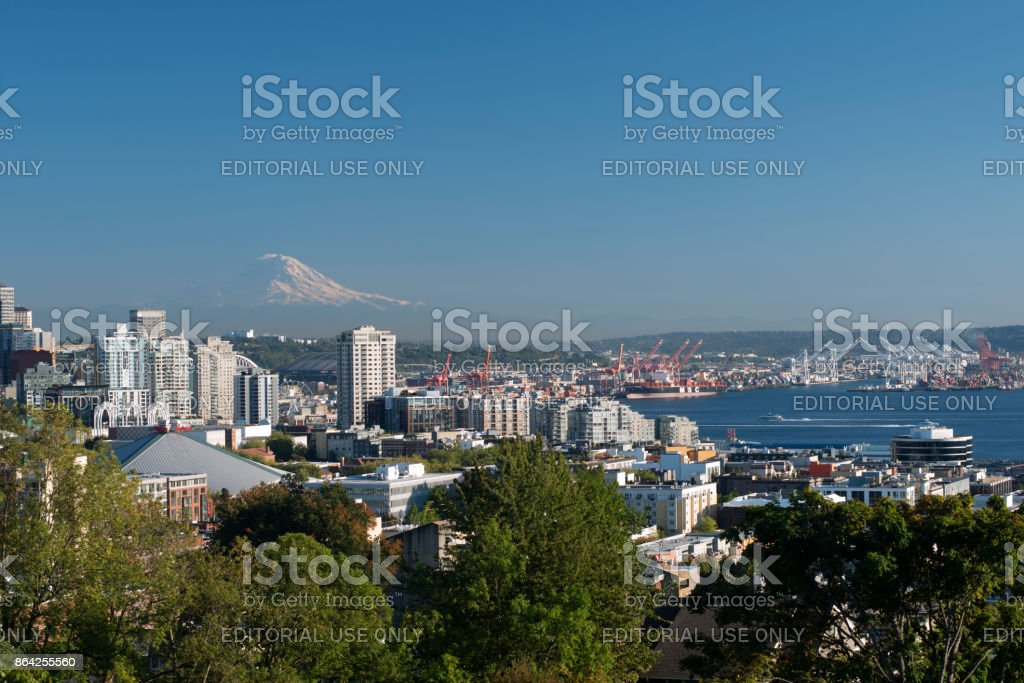 Seattle skyline and harbor view with Mount Rainier in the distance from Kerry Park royalty-free stock photo