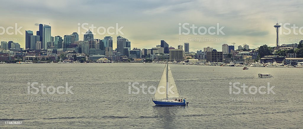 Seattle skyline and Lake Union stock photo