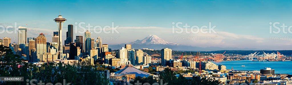 Seattle Skyline and Mount Rainier at Sunset stock photo