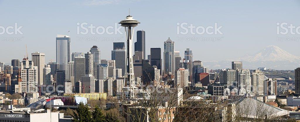 Seattle Skyline and Mount Rainier stock photo