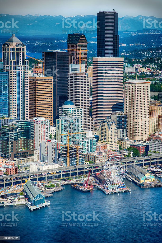 Seattle Skyline and Waterfront Aerial View stock photo