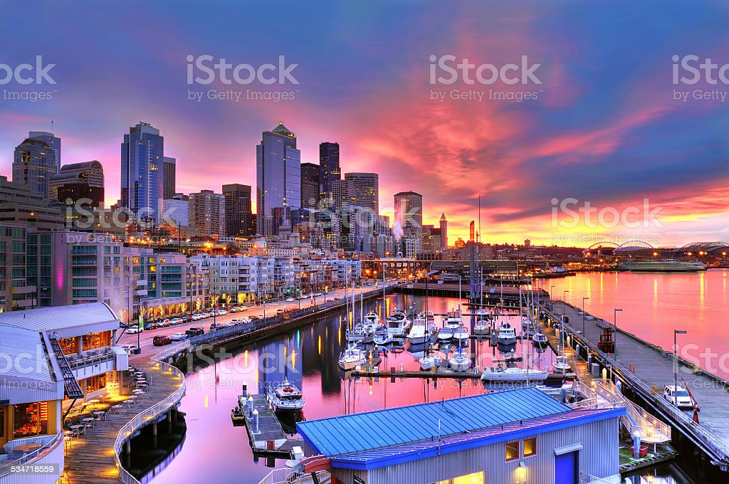 Seattle skyline and waterfront in sunrise stock photo