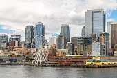 Seattle, Washington, USA - July 7, 2018: City skyline and waterfront of Seattle downtown from across Elliott Bay, Seattle, Washington, USA
