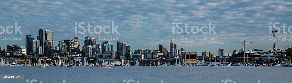 Seattle skyline and Yachts on Lake Union stock photo