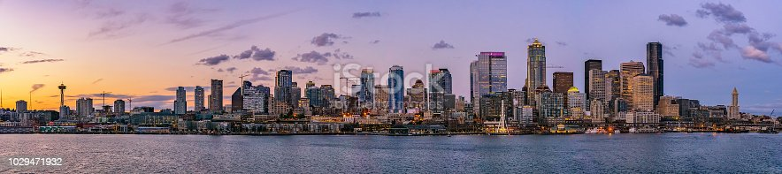 Beautiful Seattle skyline or cityscape from Elliot Bay, Puget Sound, at dusk or sunrise, Washington state, USA.
