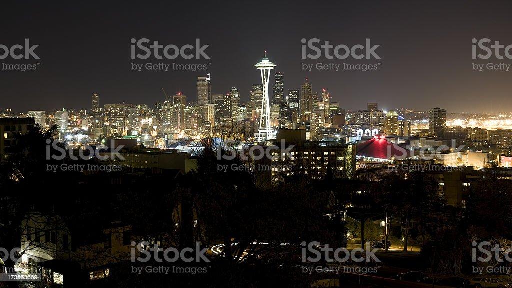 Seattle Skyline at Night (XXL) stock photo