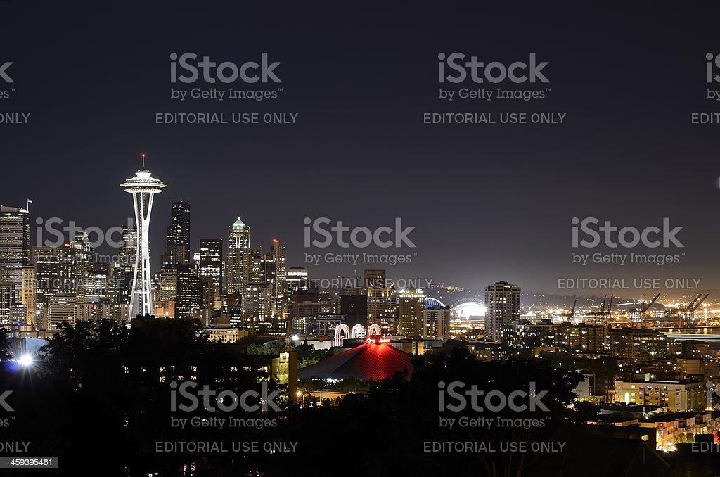 Seattle Skyline at Night stock photo