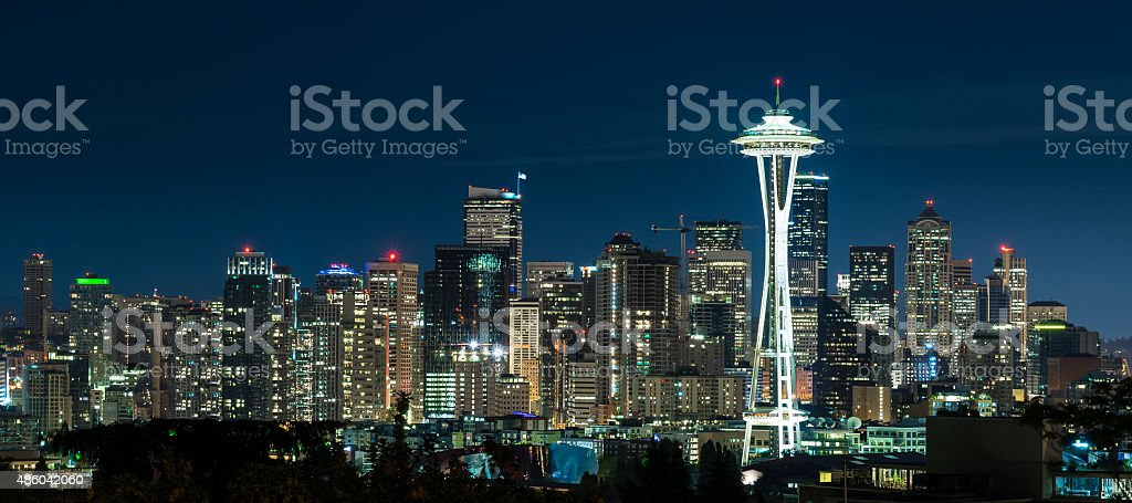 Seattle Skyline at Night stock photo