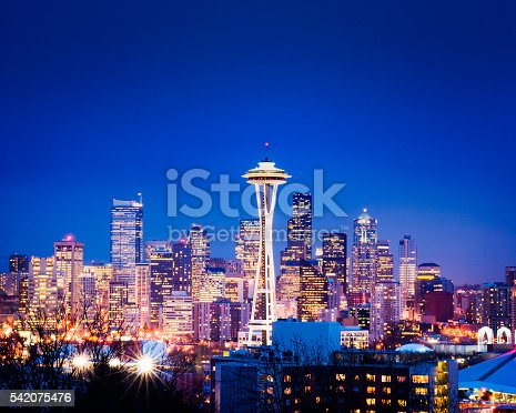 Twilight image of the downtown Seattle Skyline at night.