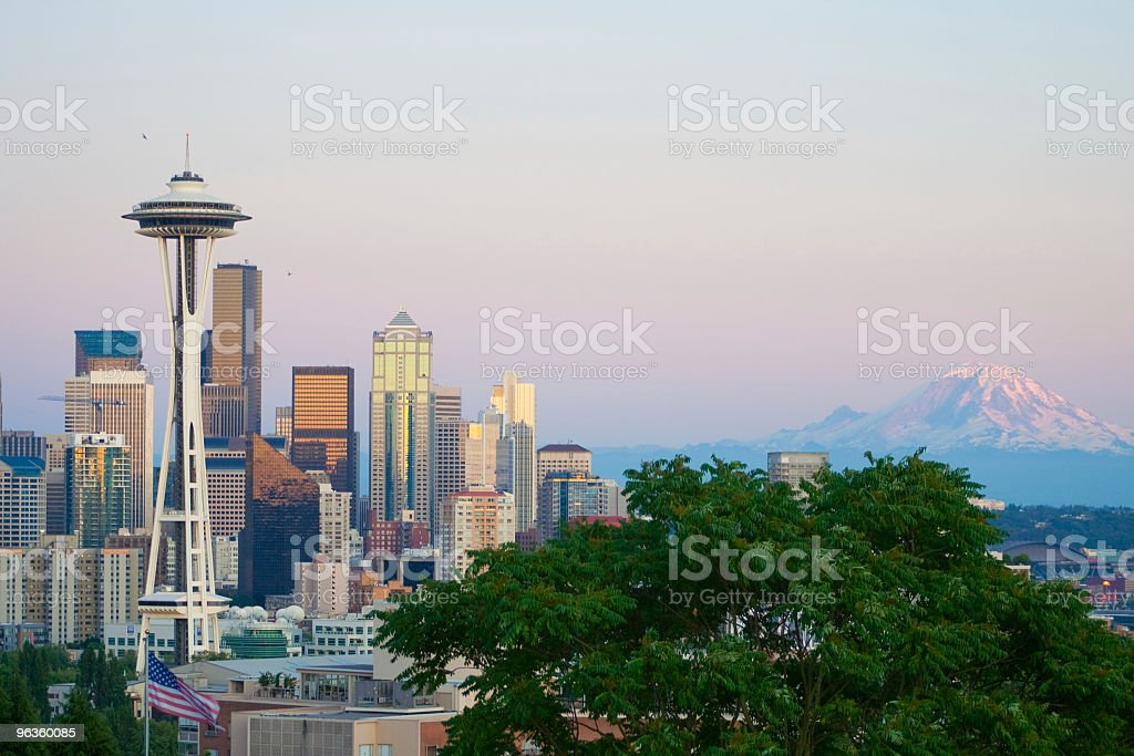 Seattle skyline at sunset stock photo