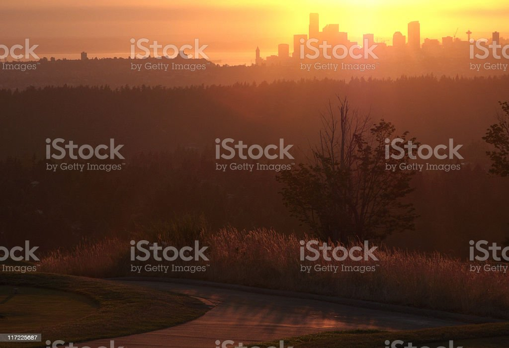 Seattle Skyline at Sunset, Urban, Buildings, Warm Tone, Bright Color stock photo