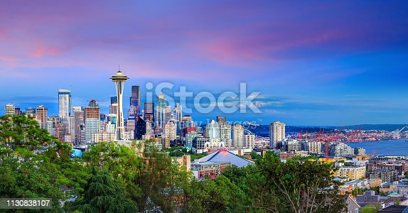Seattle skyline panorama at sunset as seen from Kerry Park, Seattle, WA
