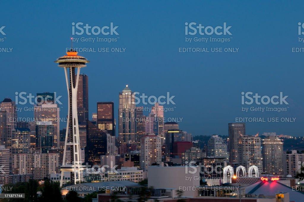 Seattle Skyline at Twilight stock photo