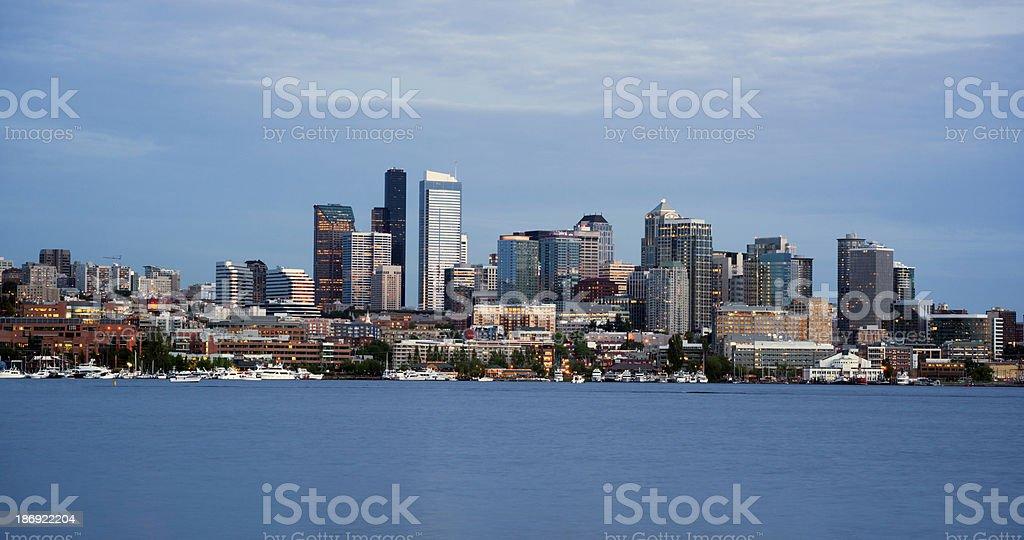 Seattle Skyline Downtown Office Buildings Lake Union Nautical Transportation stock photo