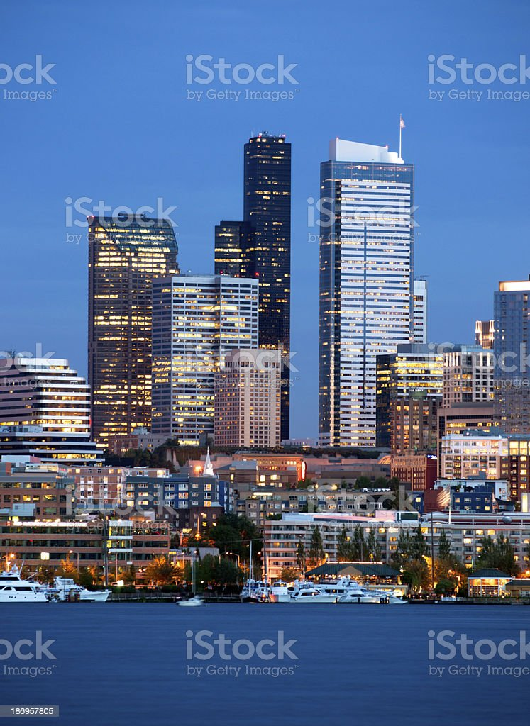 Seattle Skyline Downtown Office Buildings Nautical Transportation Highrise Corperate Towers stock photo
