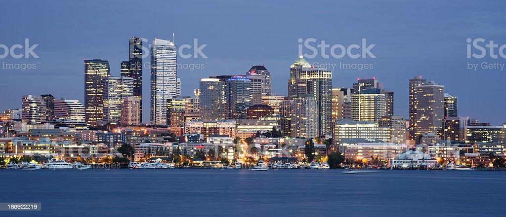 Seattle Skyline Downtown Office Buildings Urban Landscape Nautical Transportation stock photo