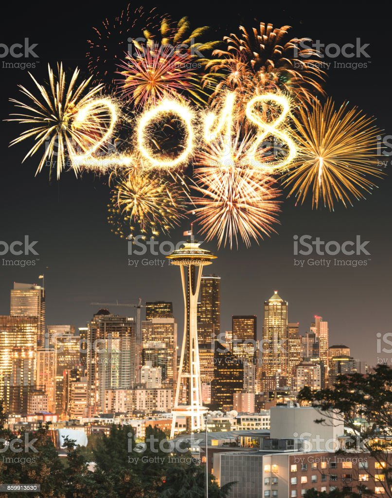 seattle skyline for the new year's eve stock photo