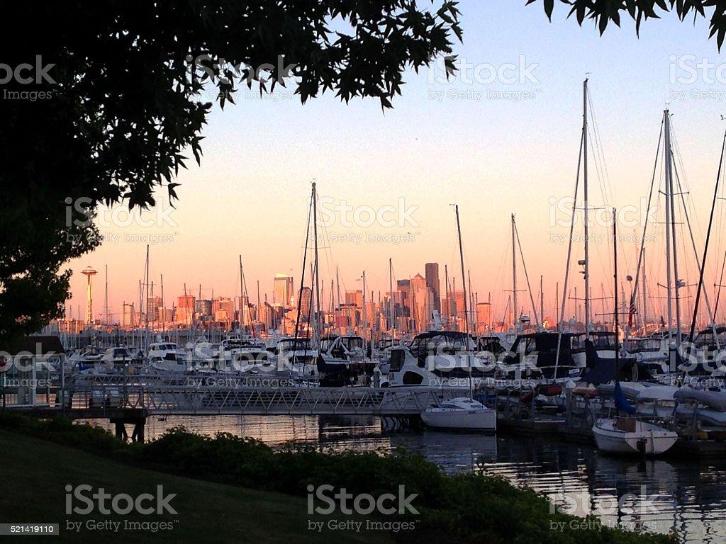 Seattle Skyline from Elliott Bay Marina stock photo